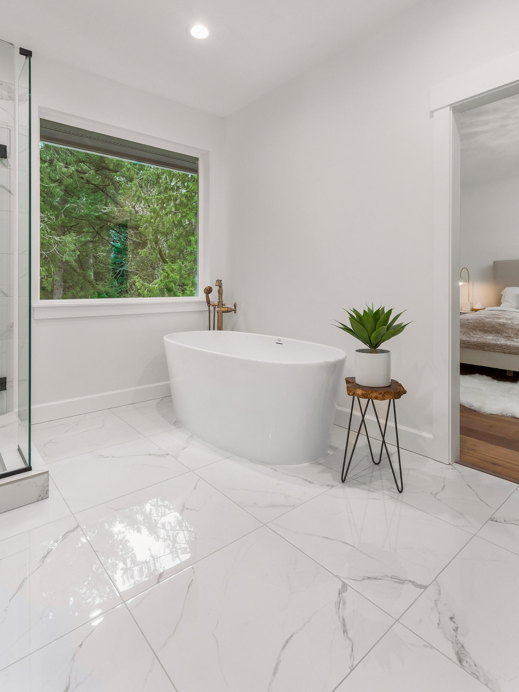 Beautiful Bathtub and Floor in Bathroom in New Luxury Home
