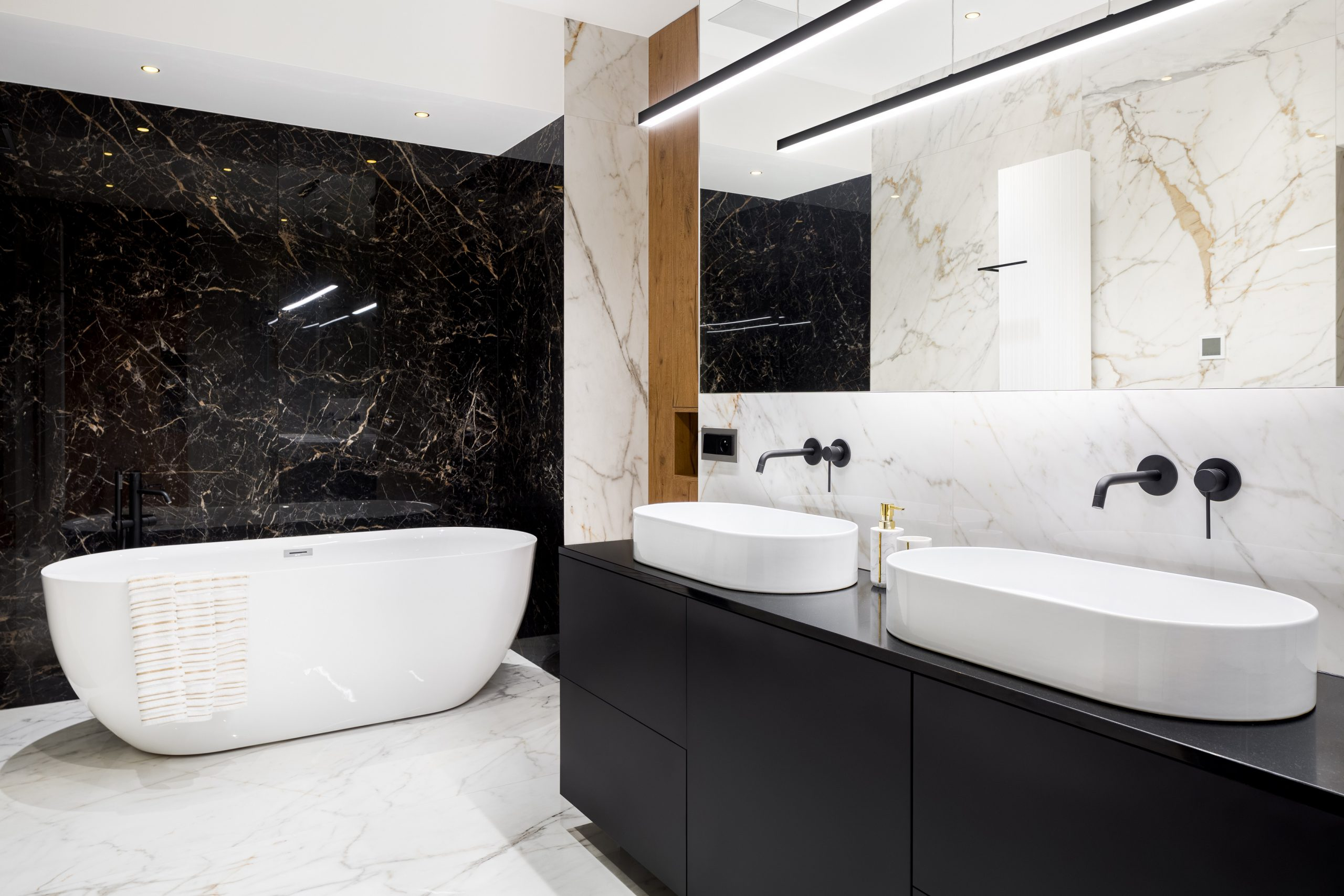 Luxury bathroom with marble tiles
