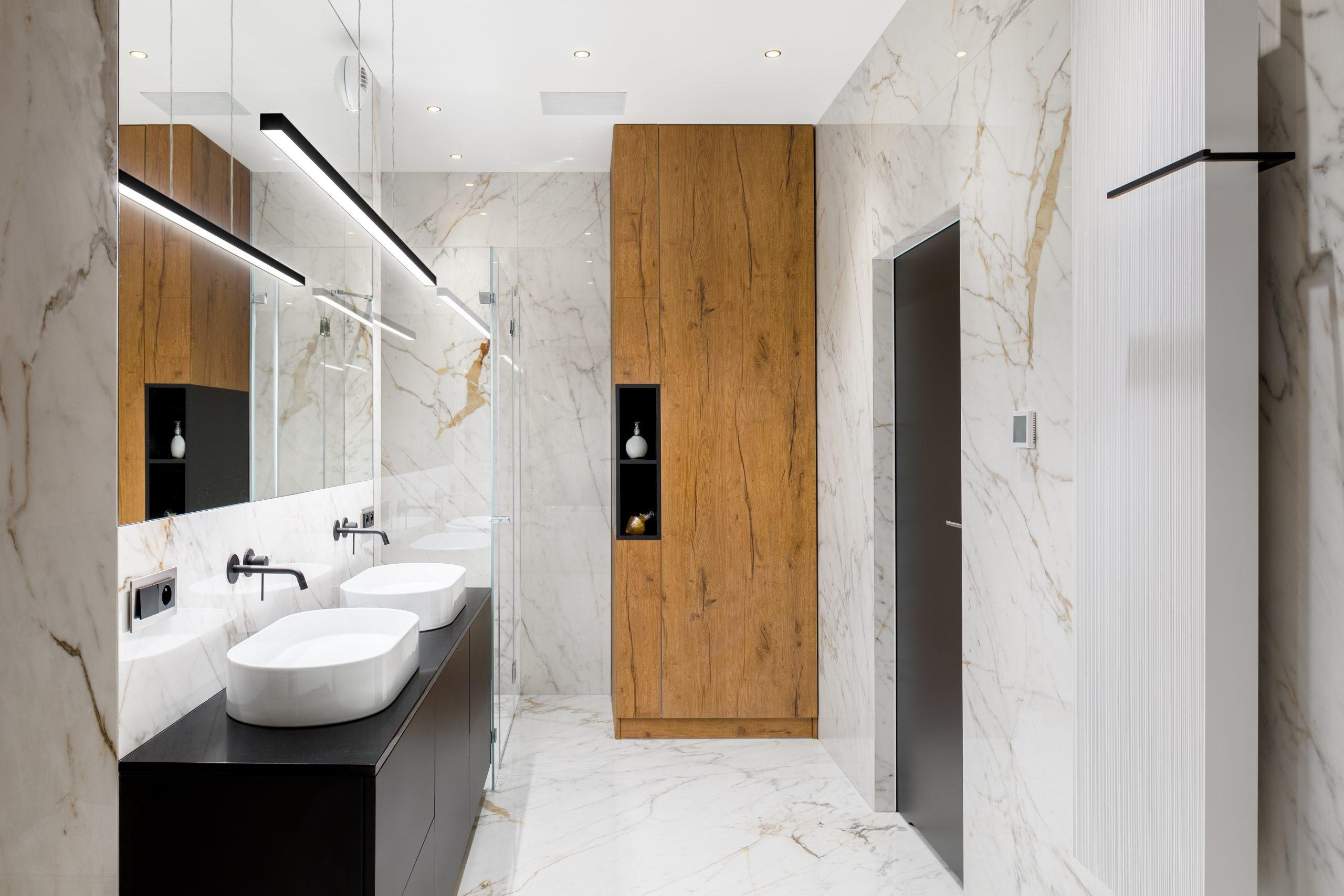 Luxury bathroom in marble
